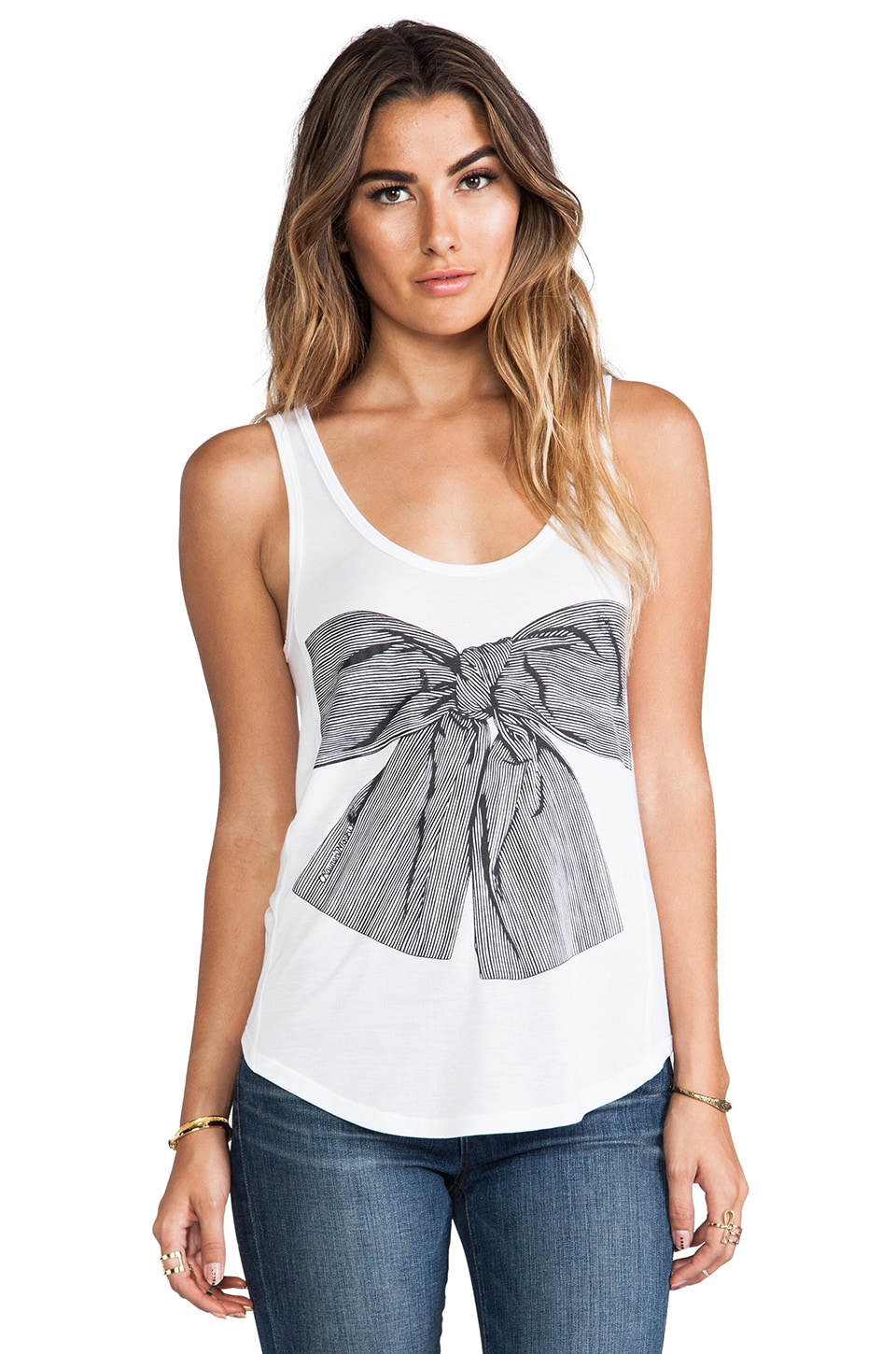 Lauren Moshi Bessy Stripe Bow Tank in White