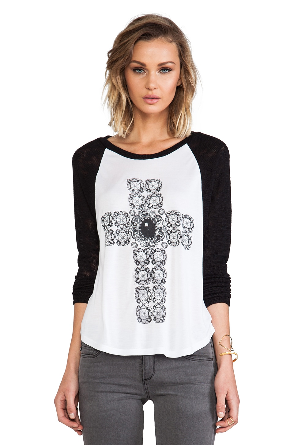 Lauren Moshi Goldy Color Diamond Cross Sweater in White & Black