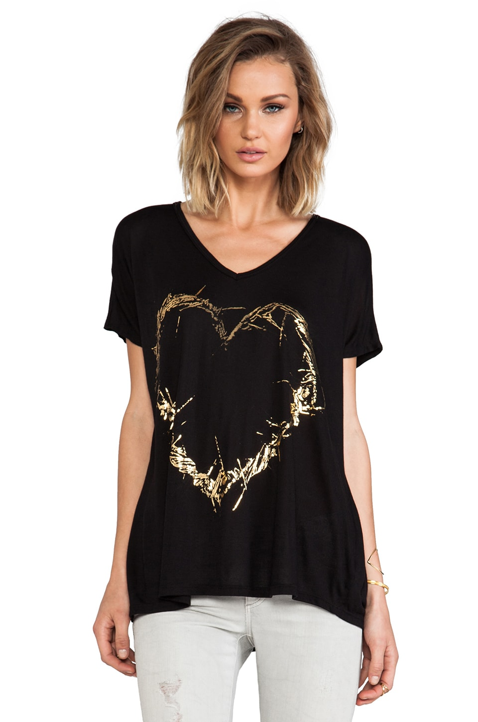 Lauren Moshi April Foil Thorn Heart Oversized V-Neck Tee in Black