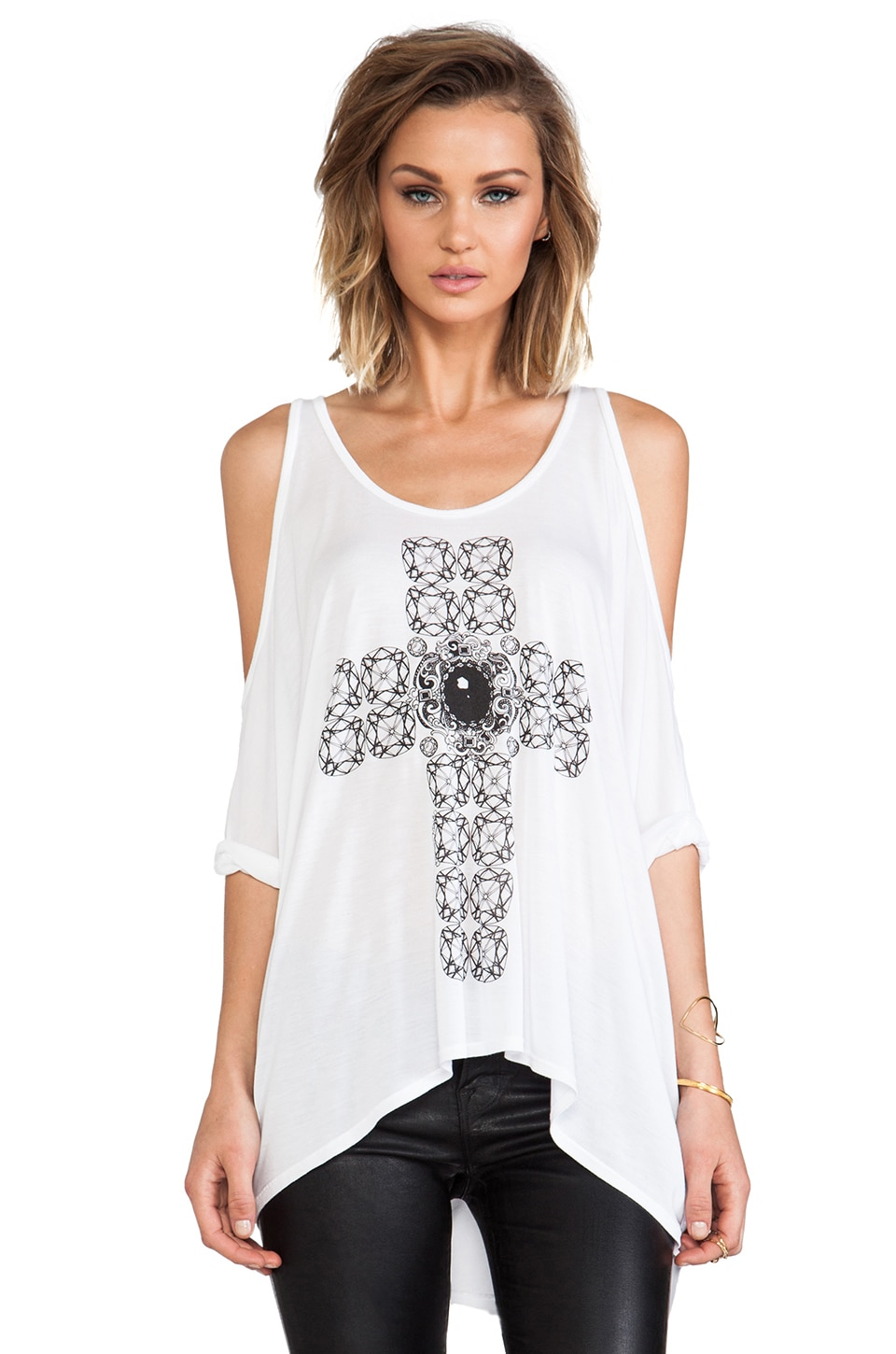 Lauren Moshi Macy Diamond Cross Open Shoulder Tee in White