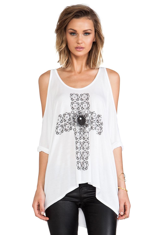 Lauren Moshi Macy Diamond Cross Open Shoulder Tee in White