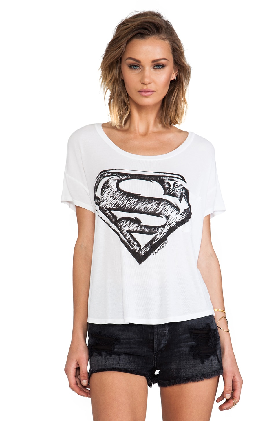 Lauren Moshi Pam Superman Scoop Tee in White