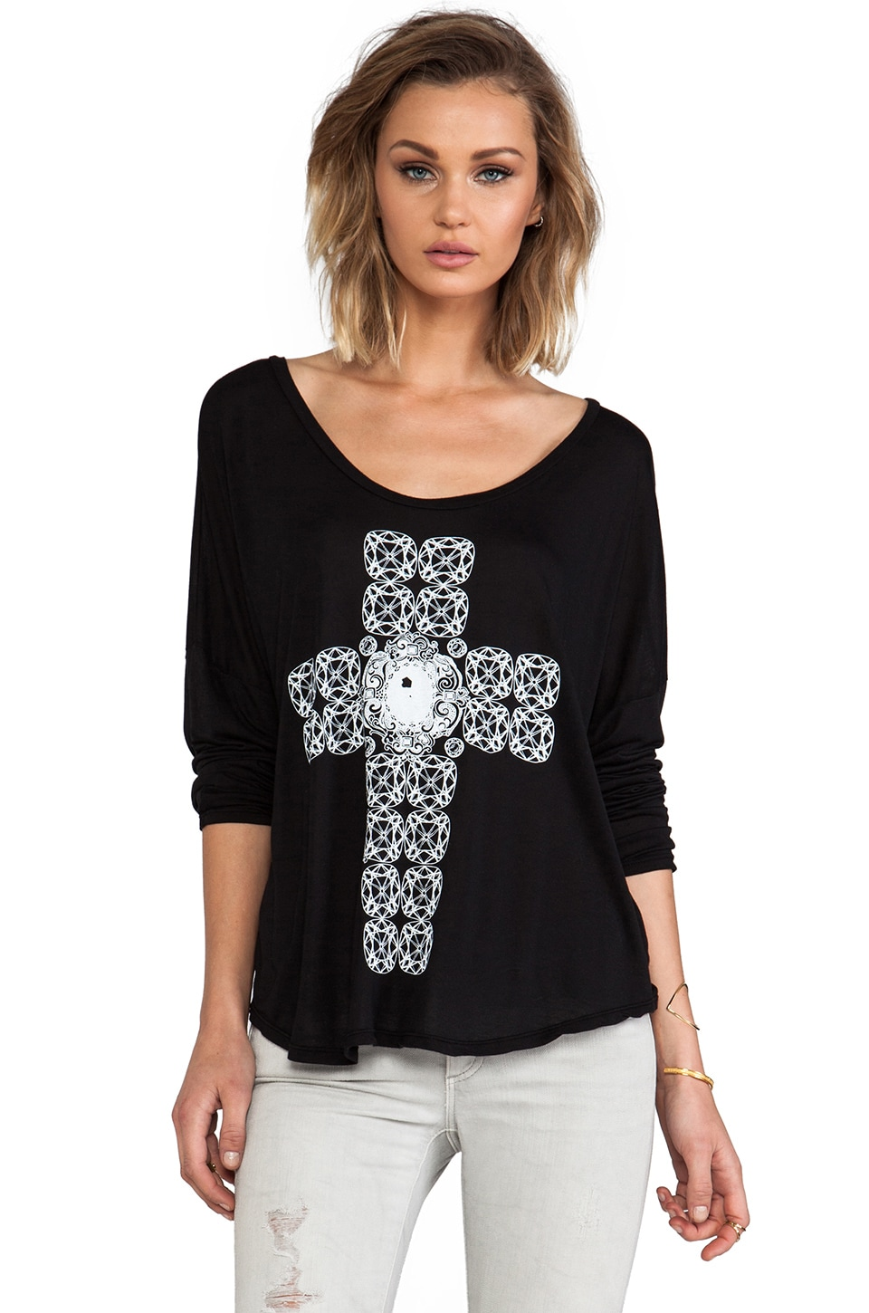 Lauren Moshi Arizona Diamond Cross Scoop Tee in Black