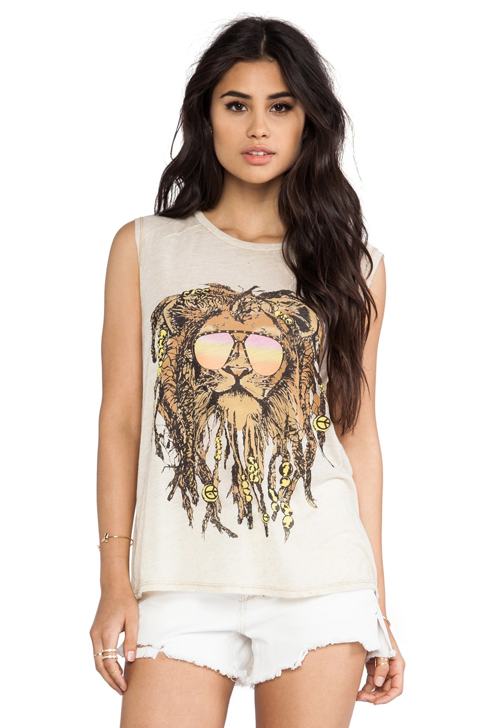 Lauren Moshi Riley Faded Rasta Lion Muscle Tank in Natural