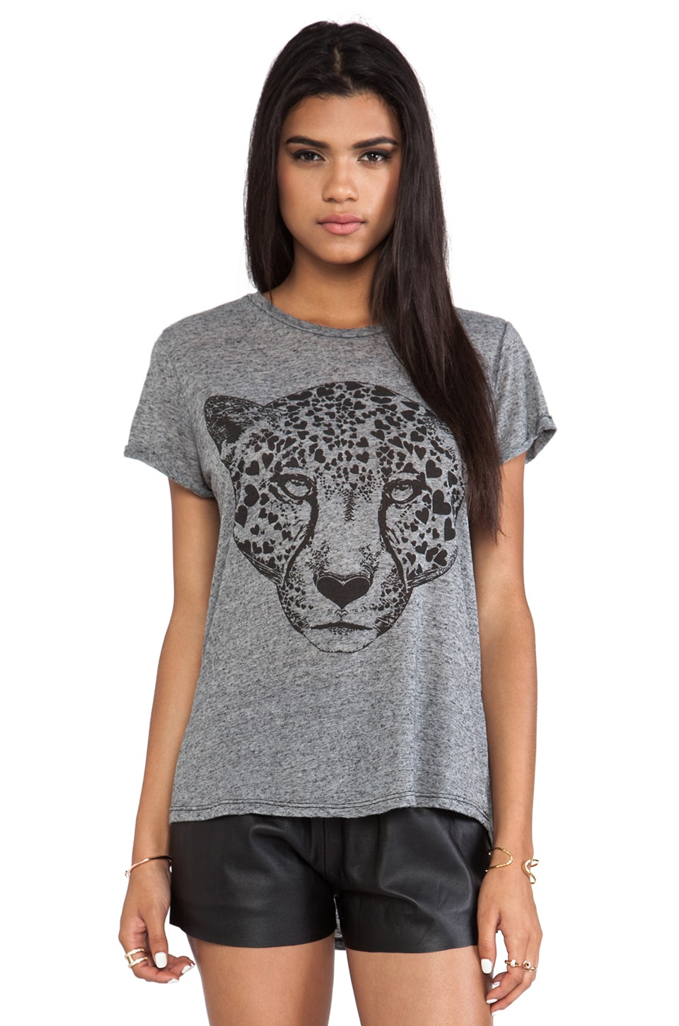 Lauren Moshi Edda Heart Leopard Head Vintage Tee in Black