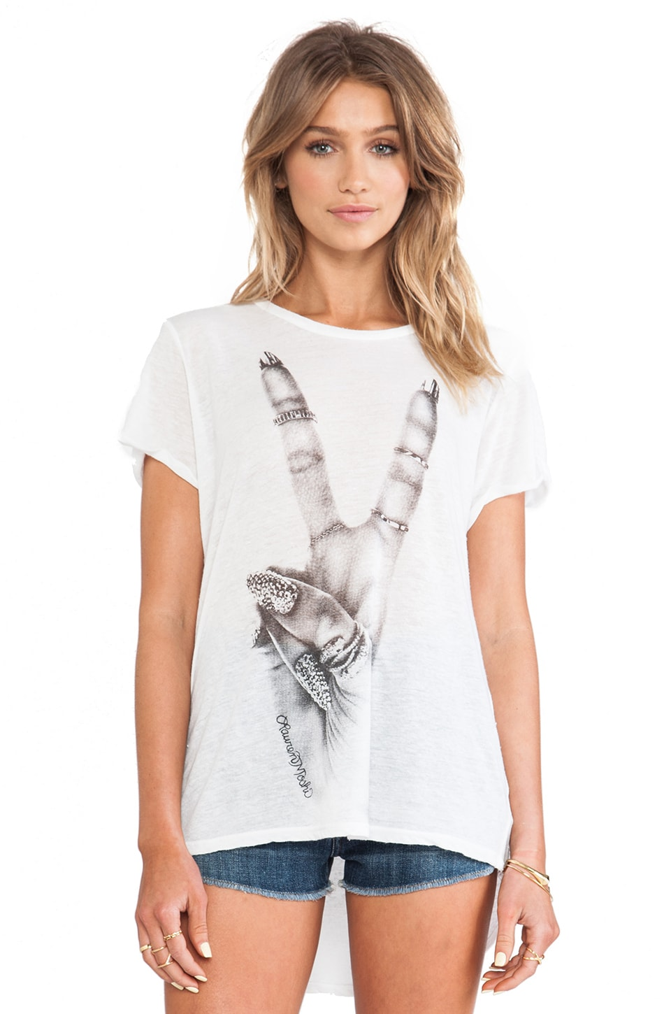 Lauren Moshi Edda Large Peace Tee in White