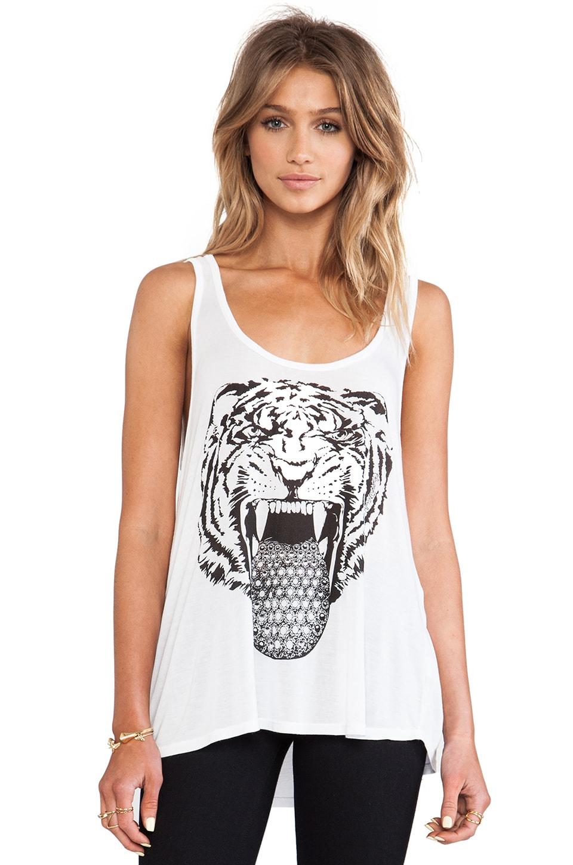Lauren Moshi Petra Diamond Tongue Wild Cat Tank in White