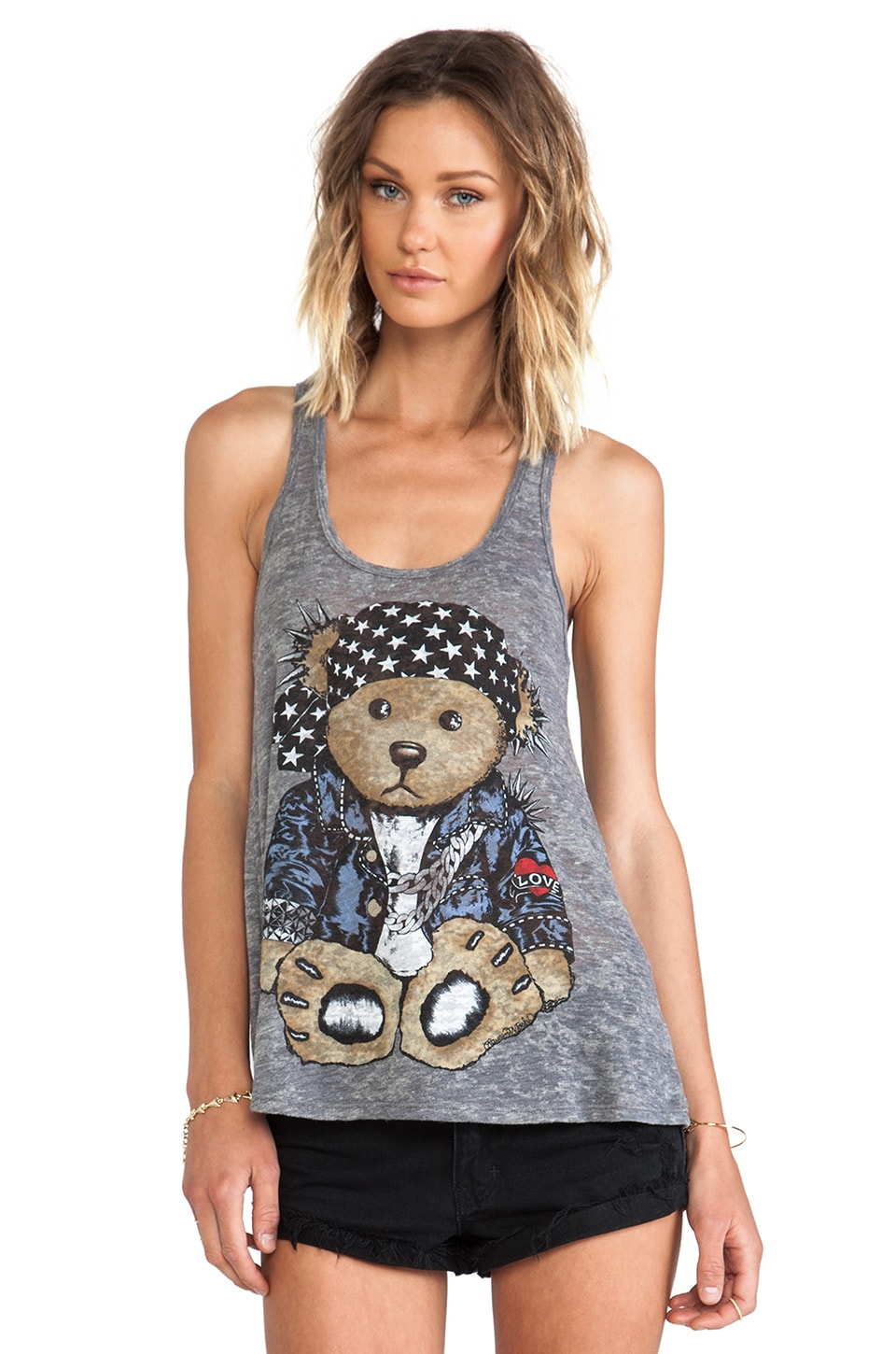 Lauren Moshi Nancy Color Rocker Teddy Tank in Heather Grey