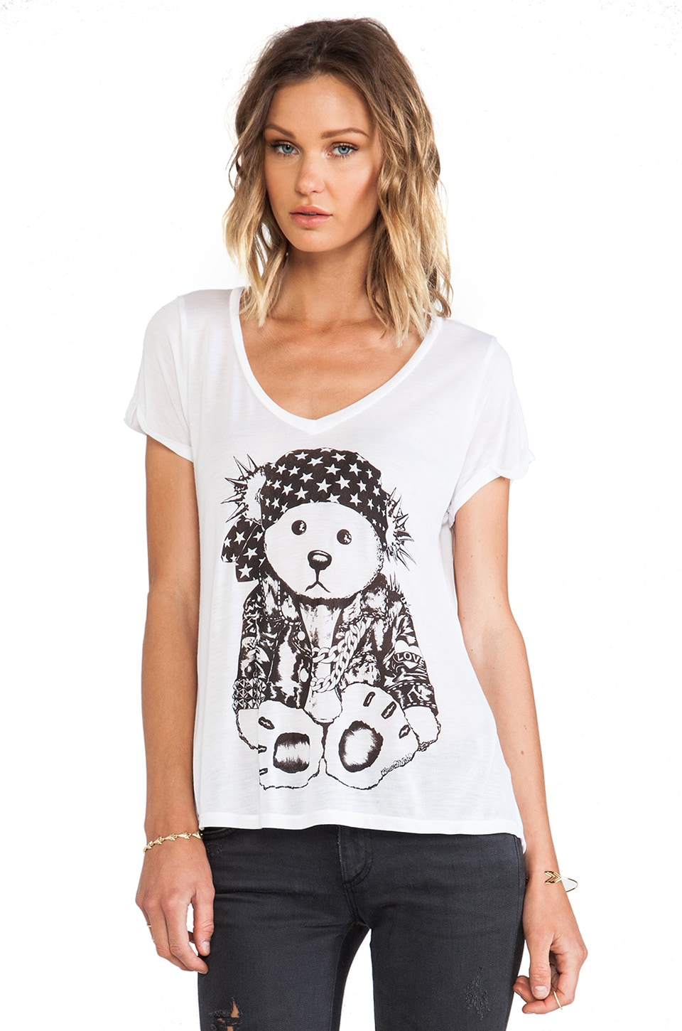 Lauren Moshi Becca Med Rocker Teddy Tee in White