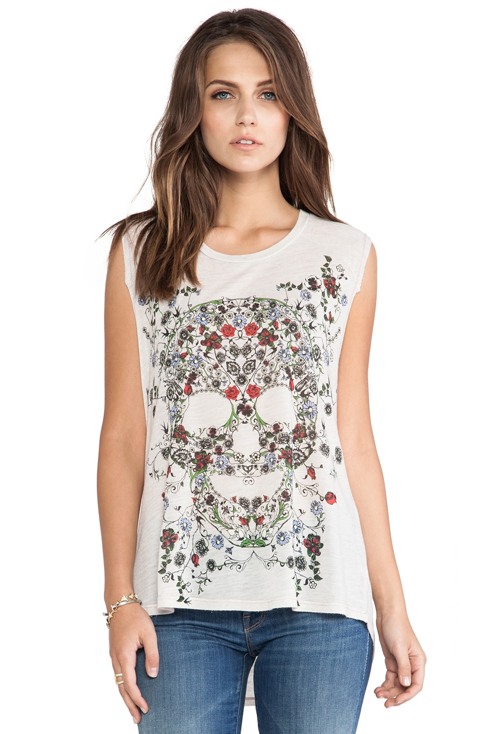 Lauren Moshi Riley Garden Skull Tank in Frenchie