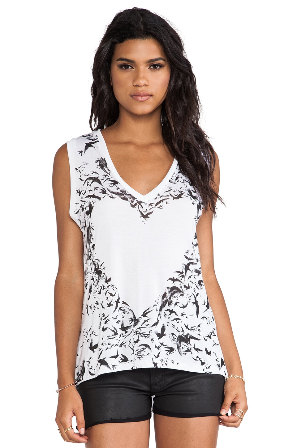 Lauren Moshi Cindy Bird Heart Tank in White