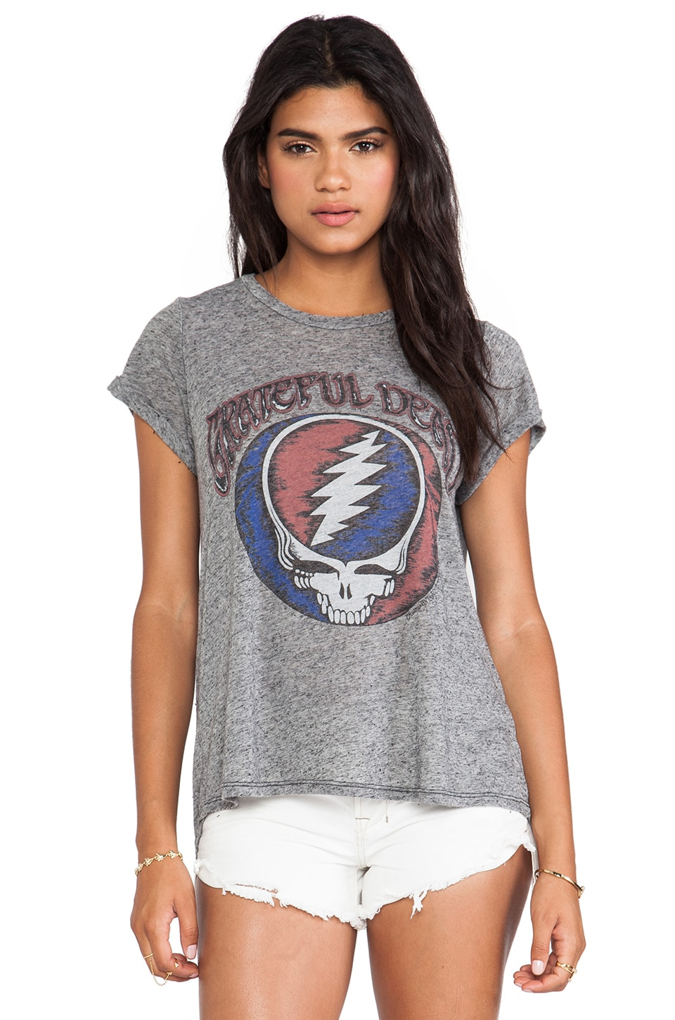 Lauren Moshi Edda Grateful Dead Vintage Roll Up Tee in Black