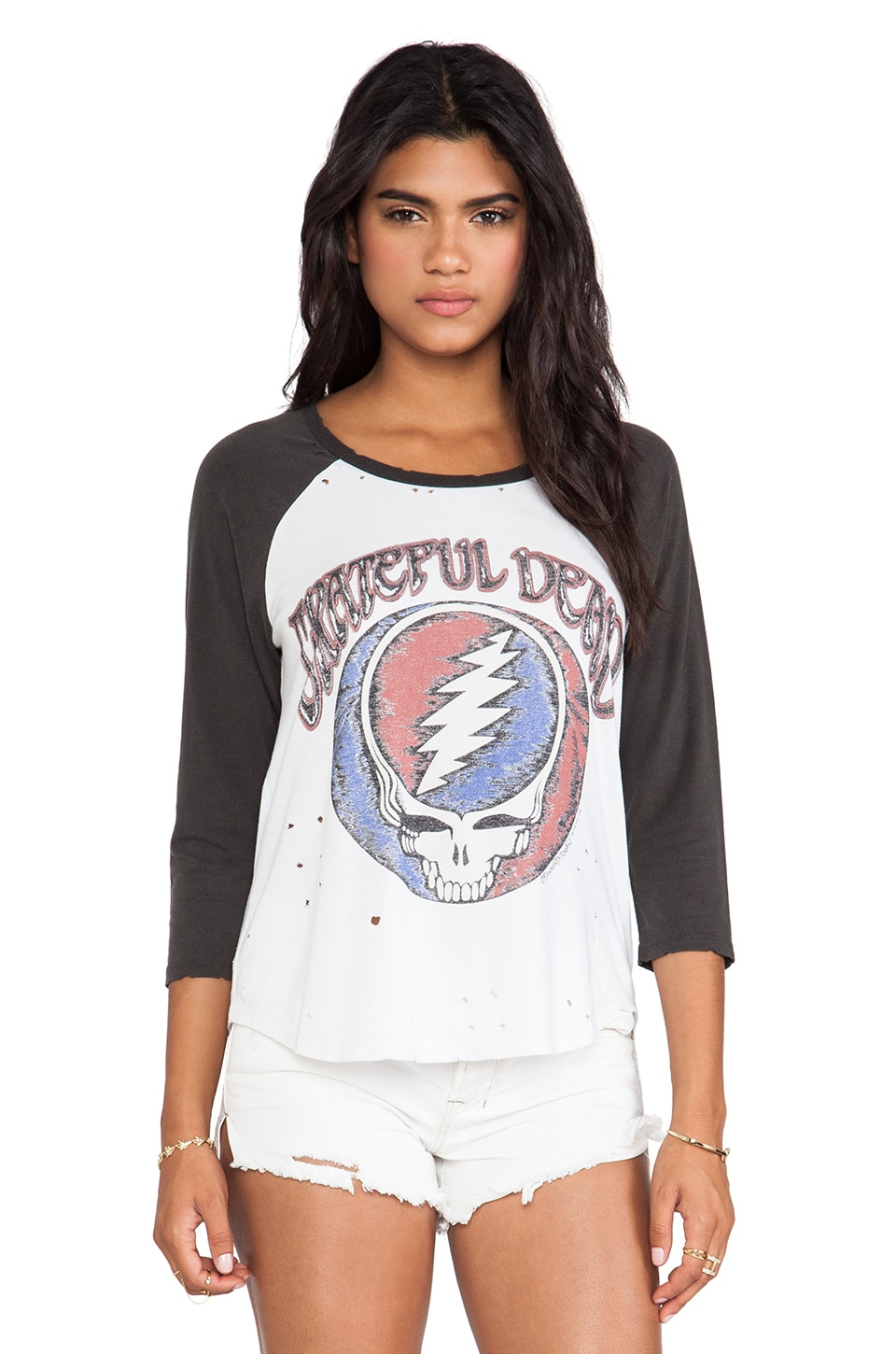 Lauren Moshi Maglan Grateful Dead Raglan in White & Vintage Black