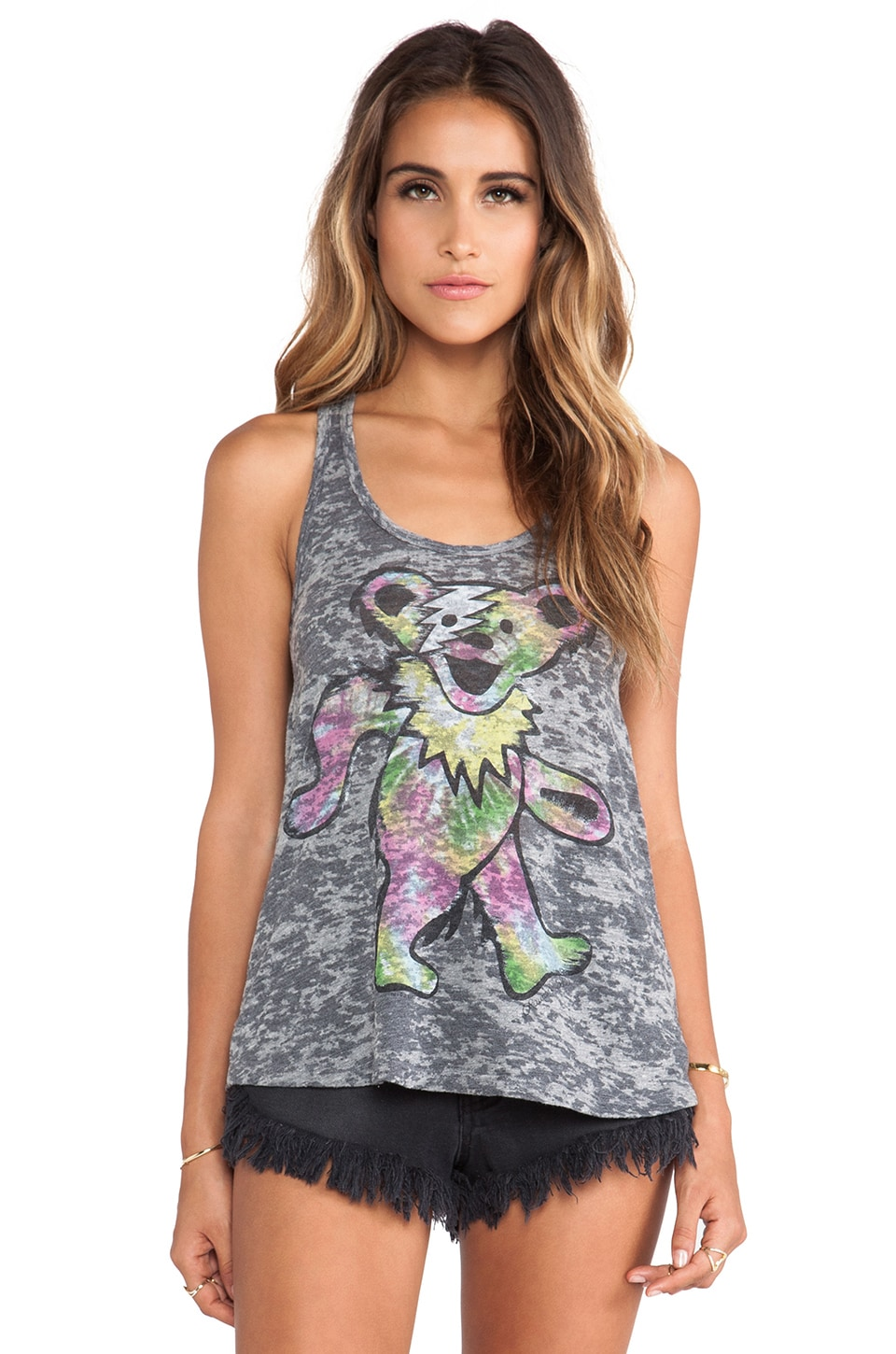Lauren Moshi Nancy Tie Dye Bear Tank in Heather Grey