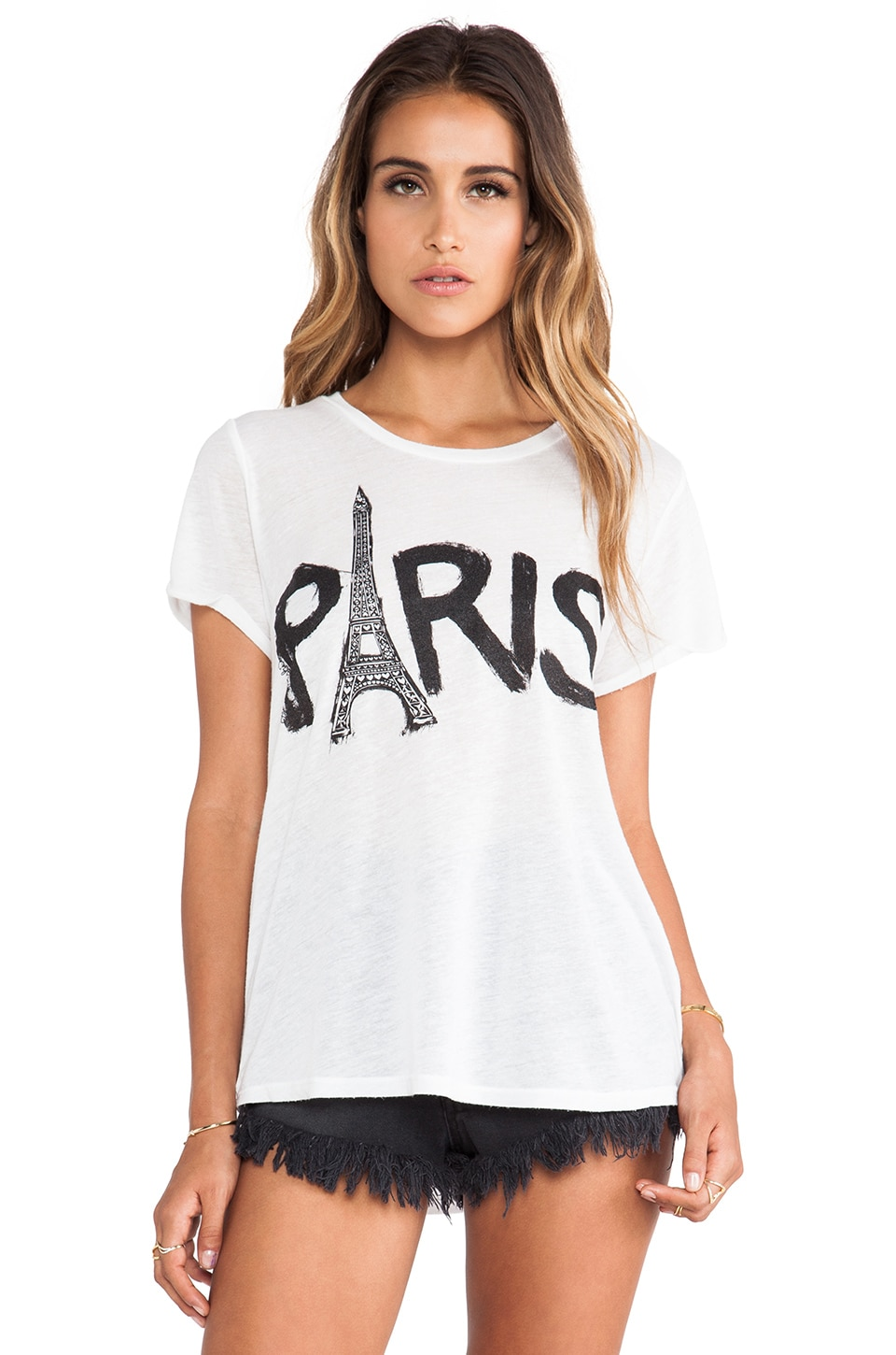 Lauren Moshi Edda Paris Tower Tee in White