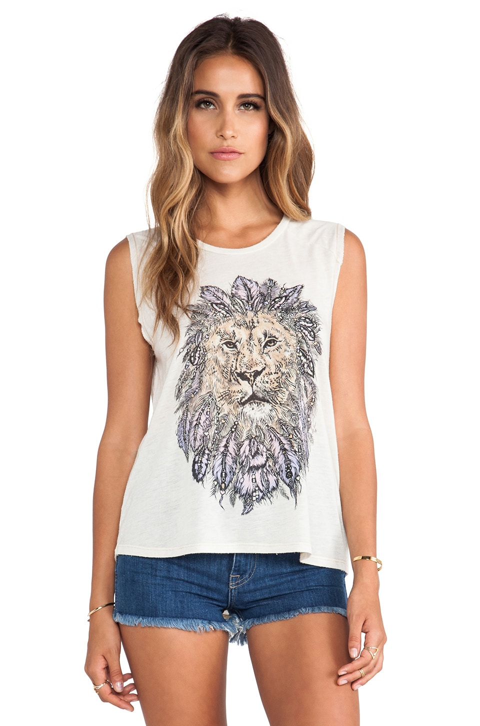Lauren Moshi Riley Feather Lion Tank in Natural