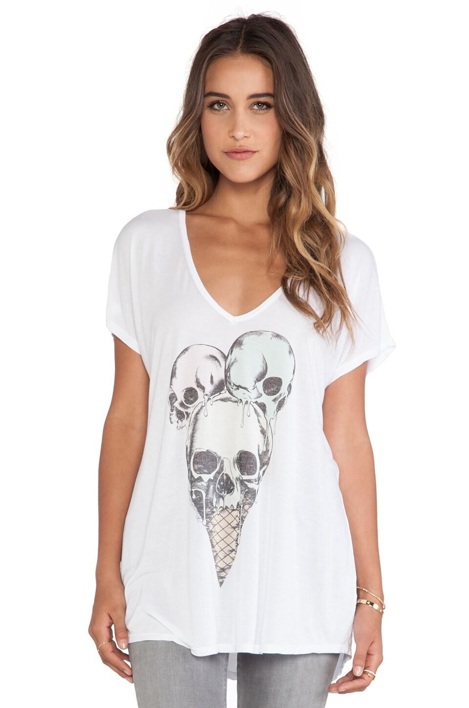 Lauren Moshi April Oversized V-Neck Tee in White
