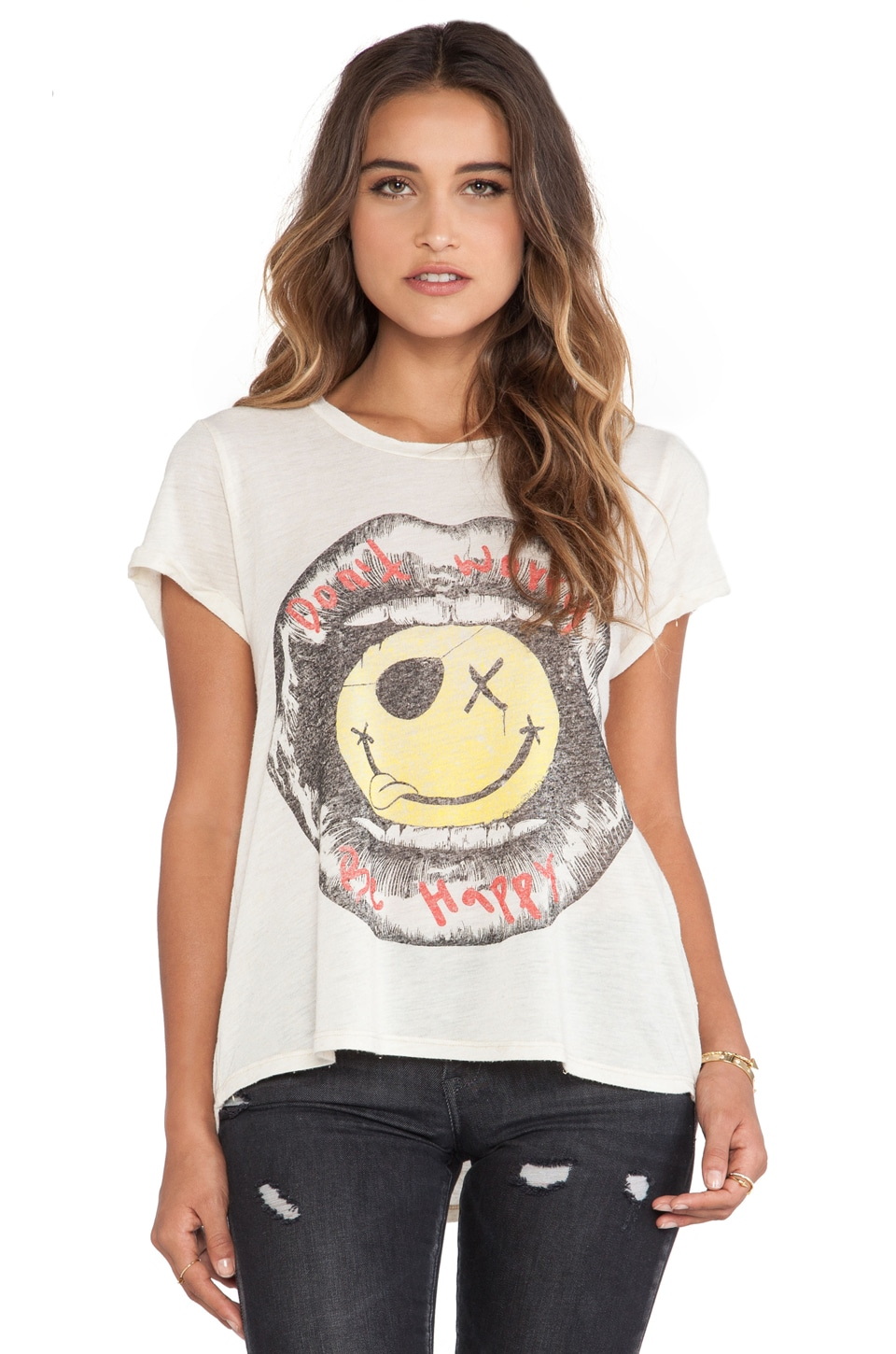 Lauren Moshi Edda Vintage Roll Up Tee in Natural
