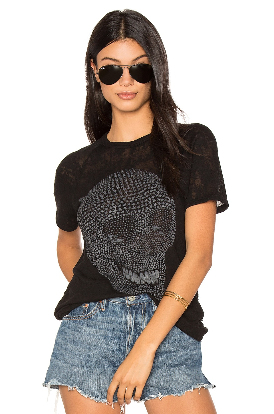 Lauren Moshi Suki Mini Star Skull Tee in Black