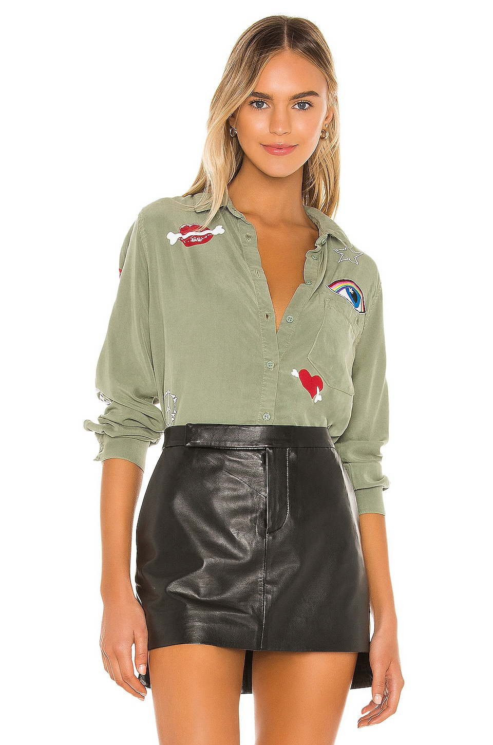 Lauren Moshi Sloane Button Down in Pine Green