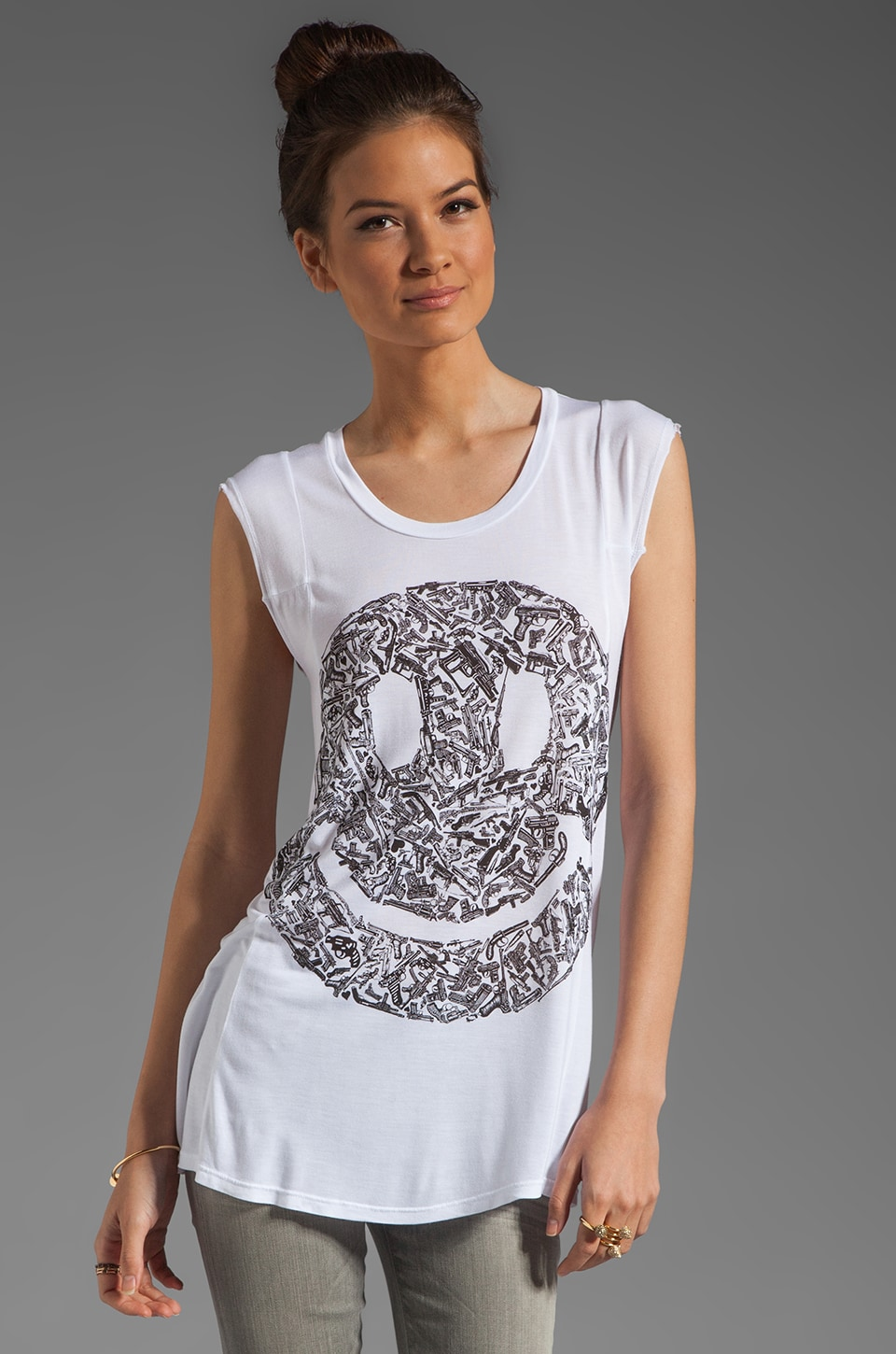 Lauren Moshi Tess Gun Happy Face Tee in White