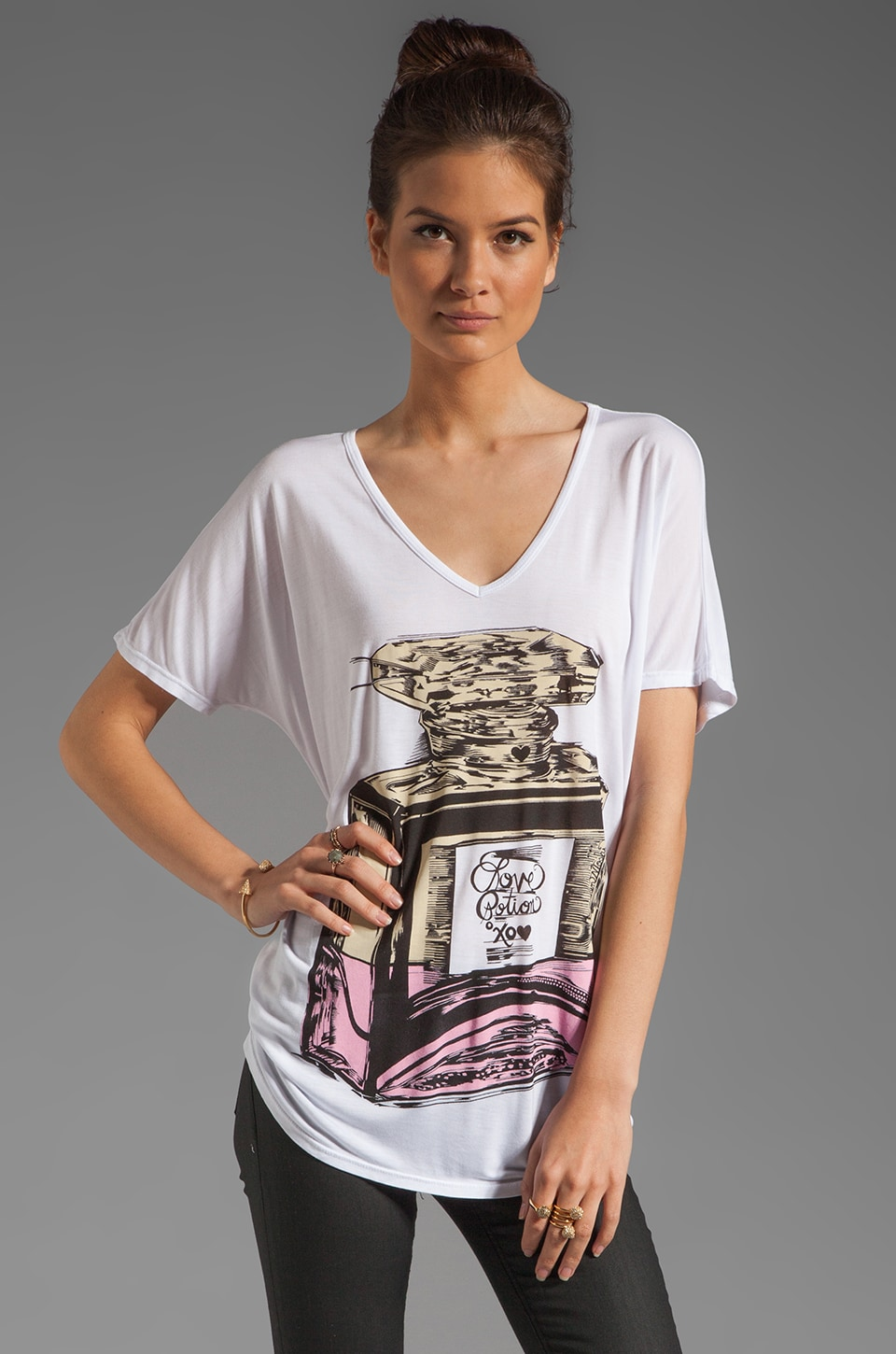 Lauren Moshi April Color Love Potion Oversized Tee in White