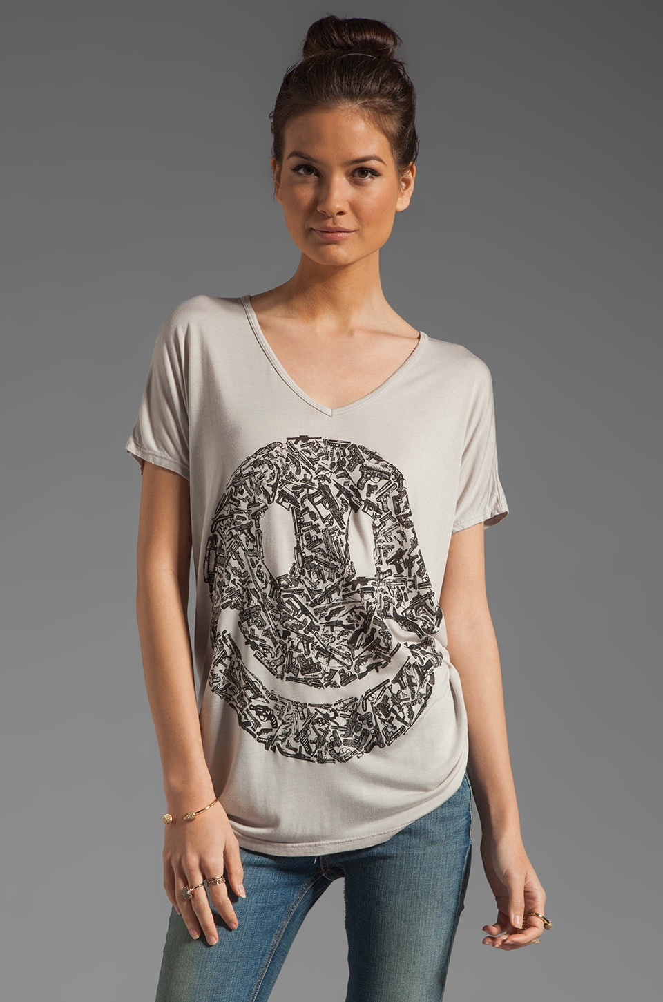 Lauren Moshi April Gun Happy Face Oversized Tee in Cloud