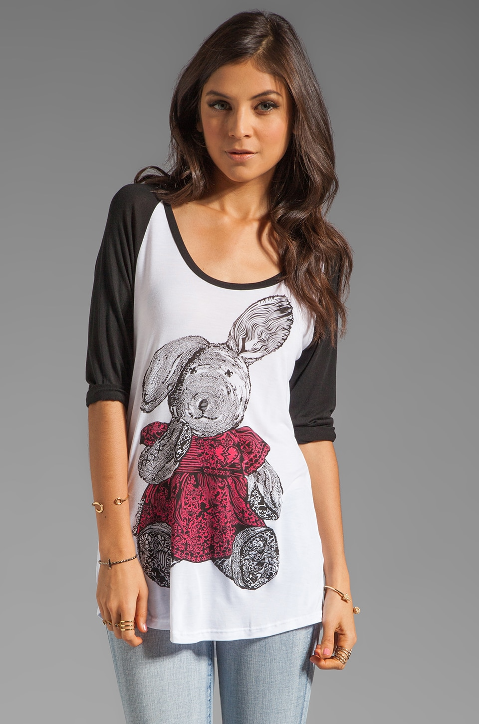 Lauren Moshi Frankie Color Bunny Baseball Tee in White/Black