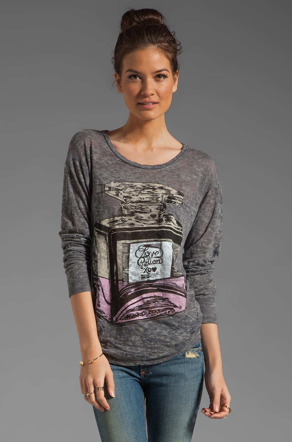 Lauren Moshi Bayle Color Love Potion Pocket Tee in Heather Grey