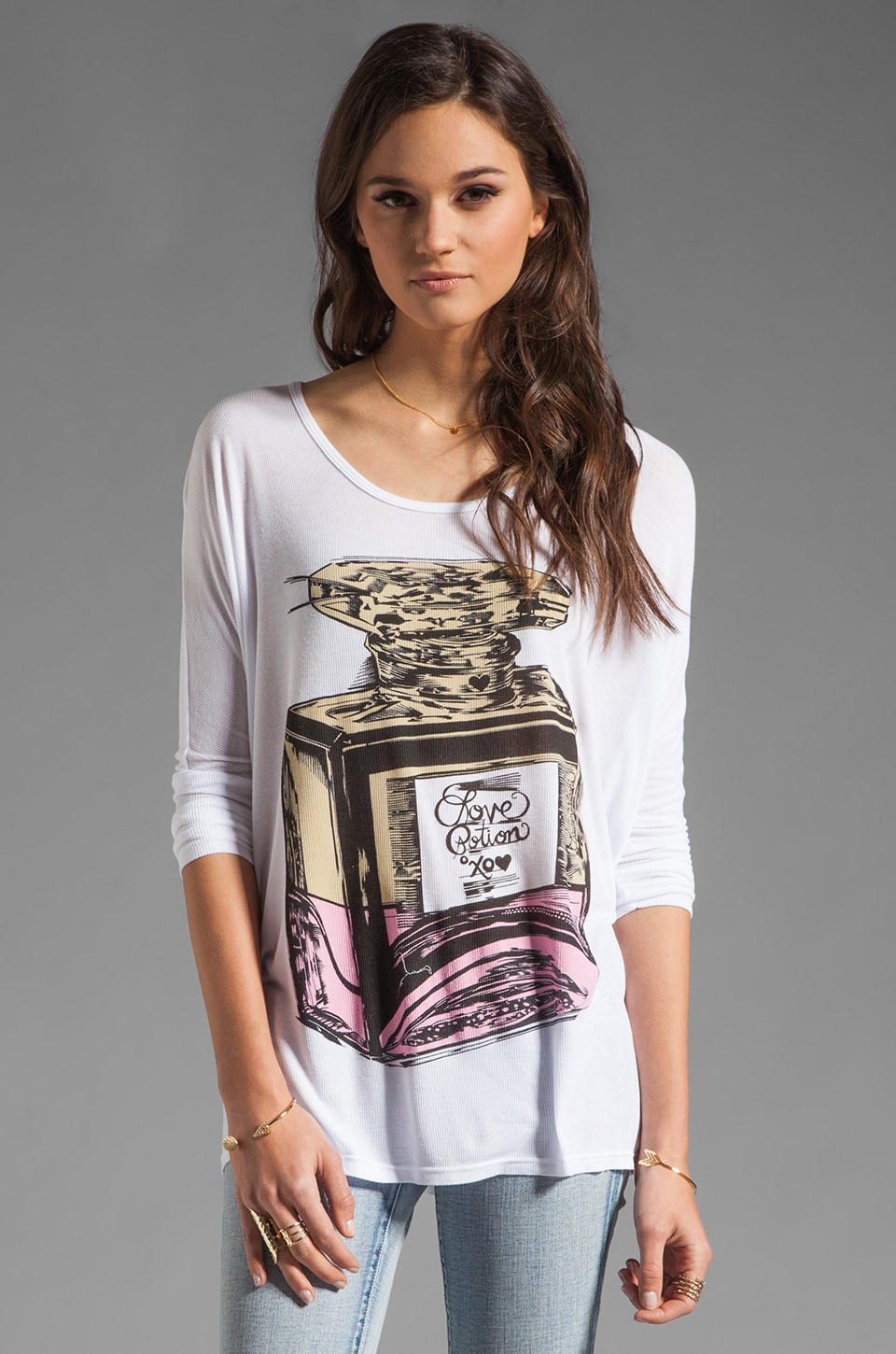 Lauren Moshi Tylie Color Love Potion Draped Tee in White