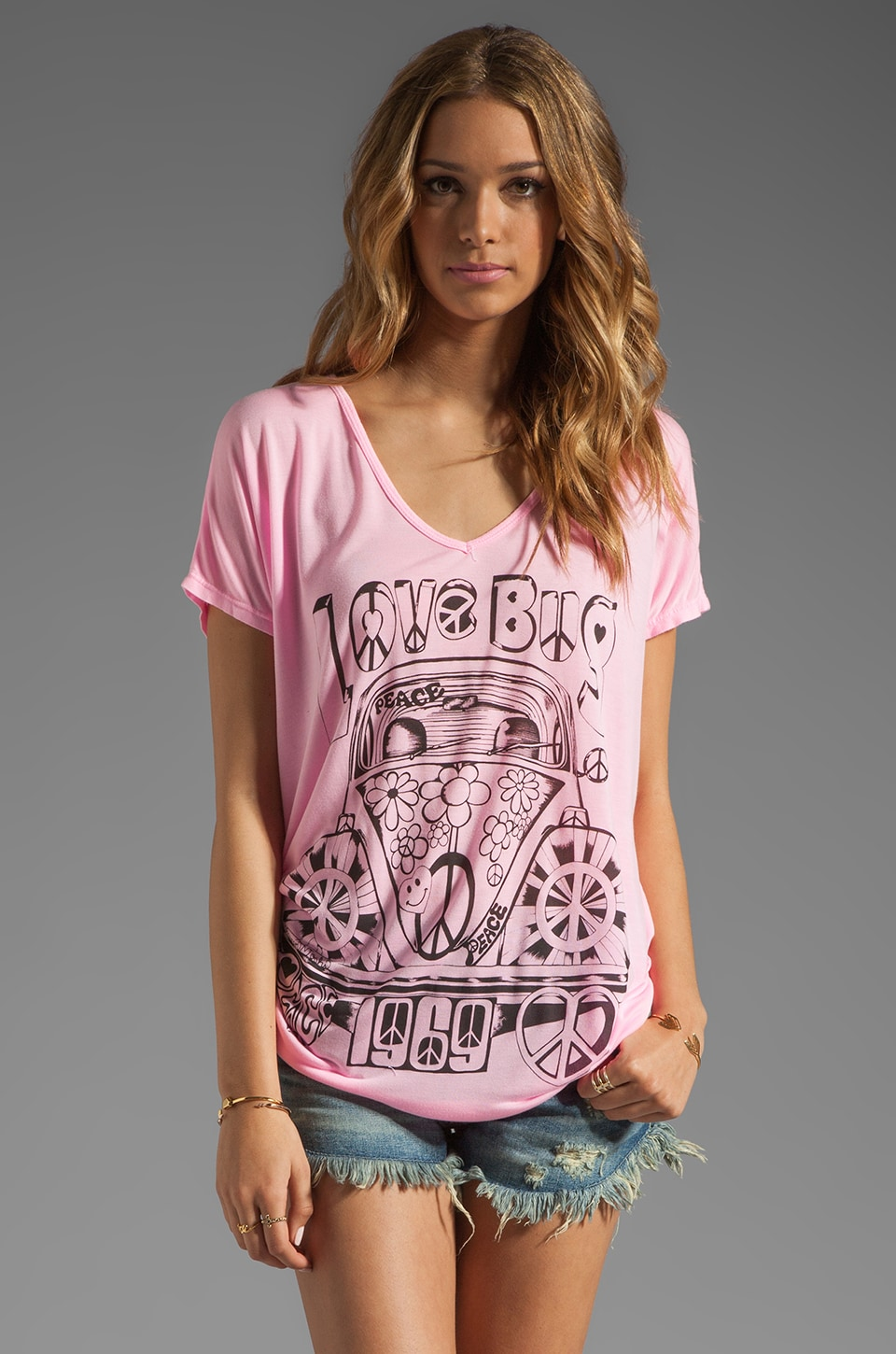 Lauren Moshi April Love Bug Tee in Malibu Pink