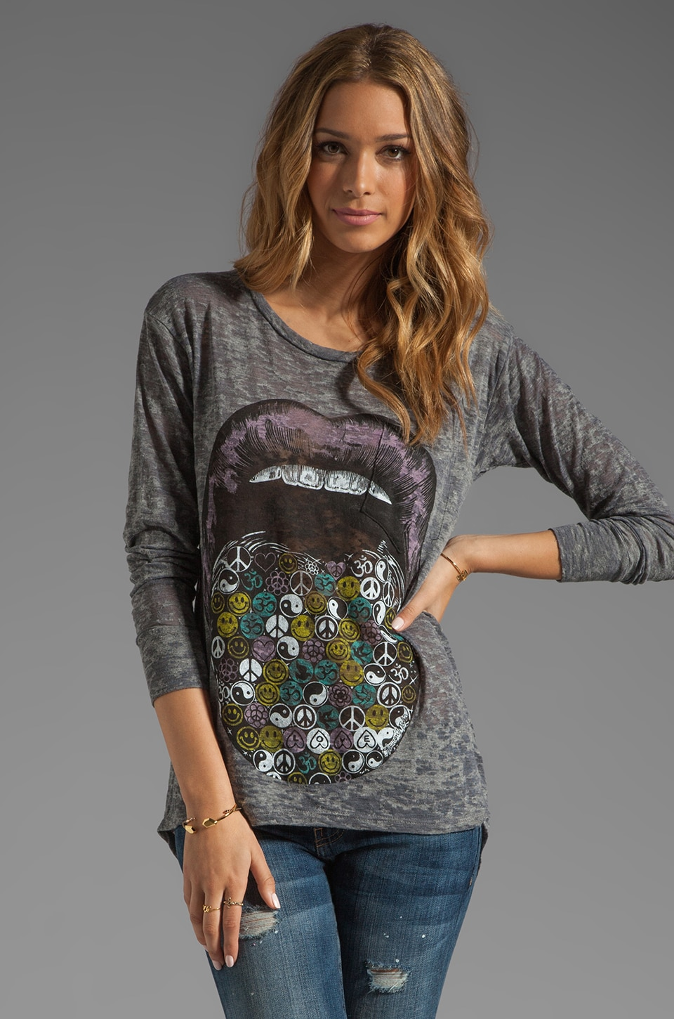 Lauren Moshi Bayle Color Hippie Lips Burnout Top in Heather Grey