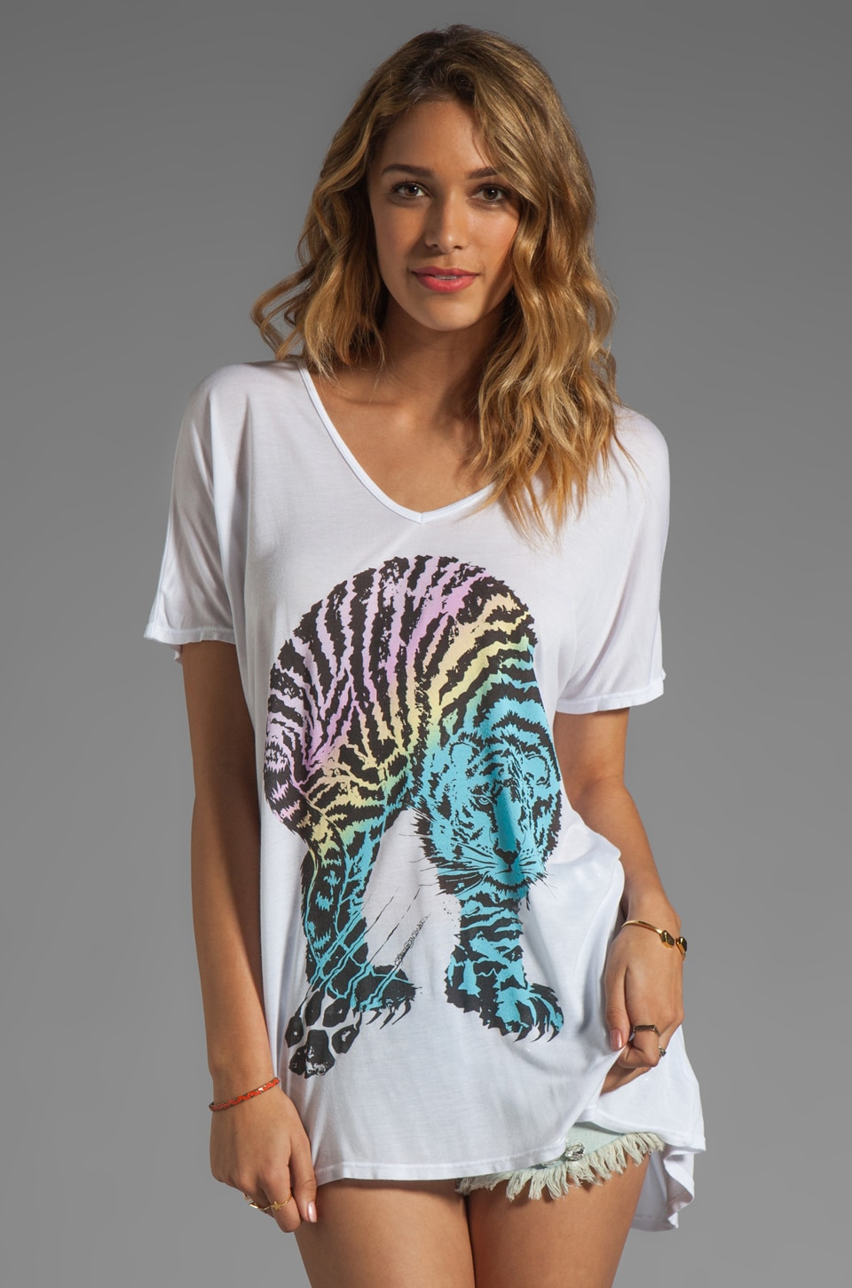 Lauren Moshi April Color Tiger Tee in White