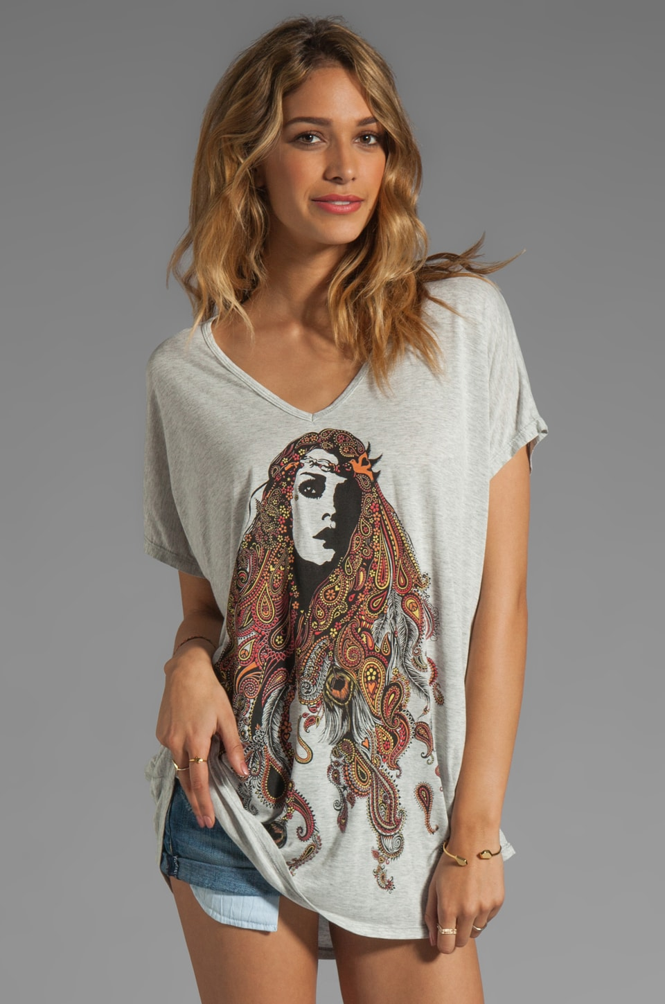 Lauren Moshi April Color Gypsy Girl Tee in Pearl