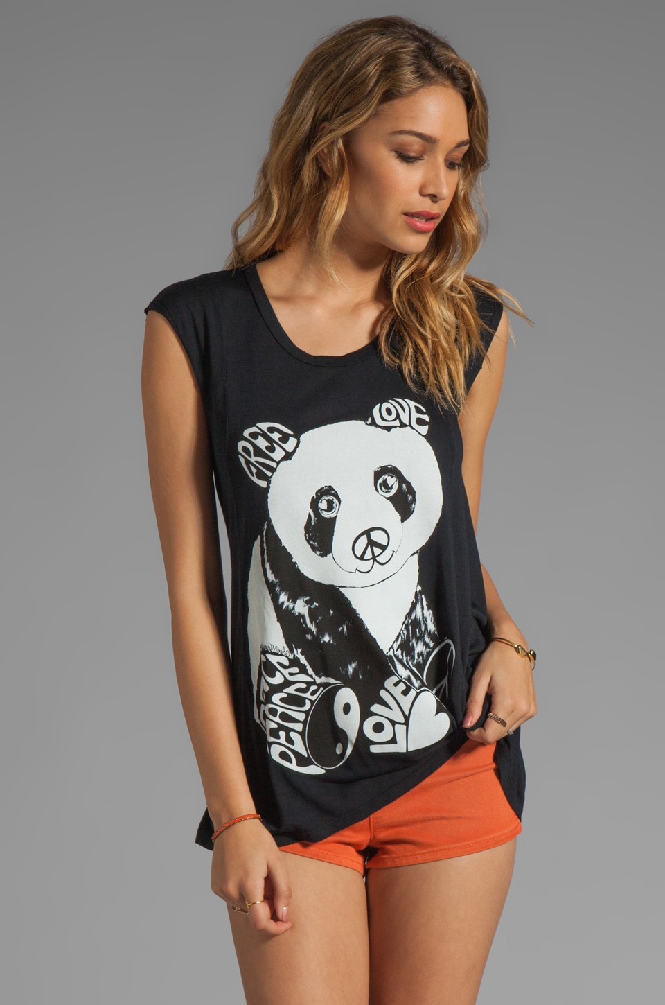 Lauren Moshi Tess 2 Color Luv Panda Tee in Black