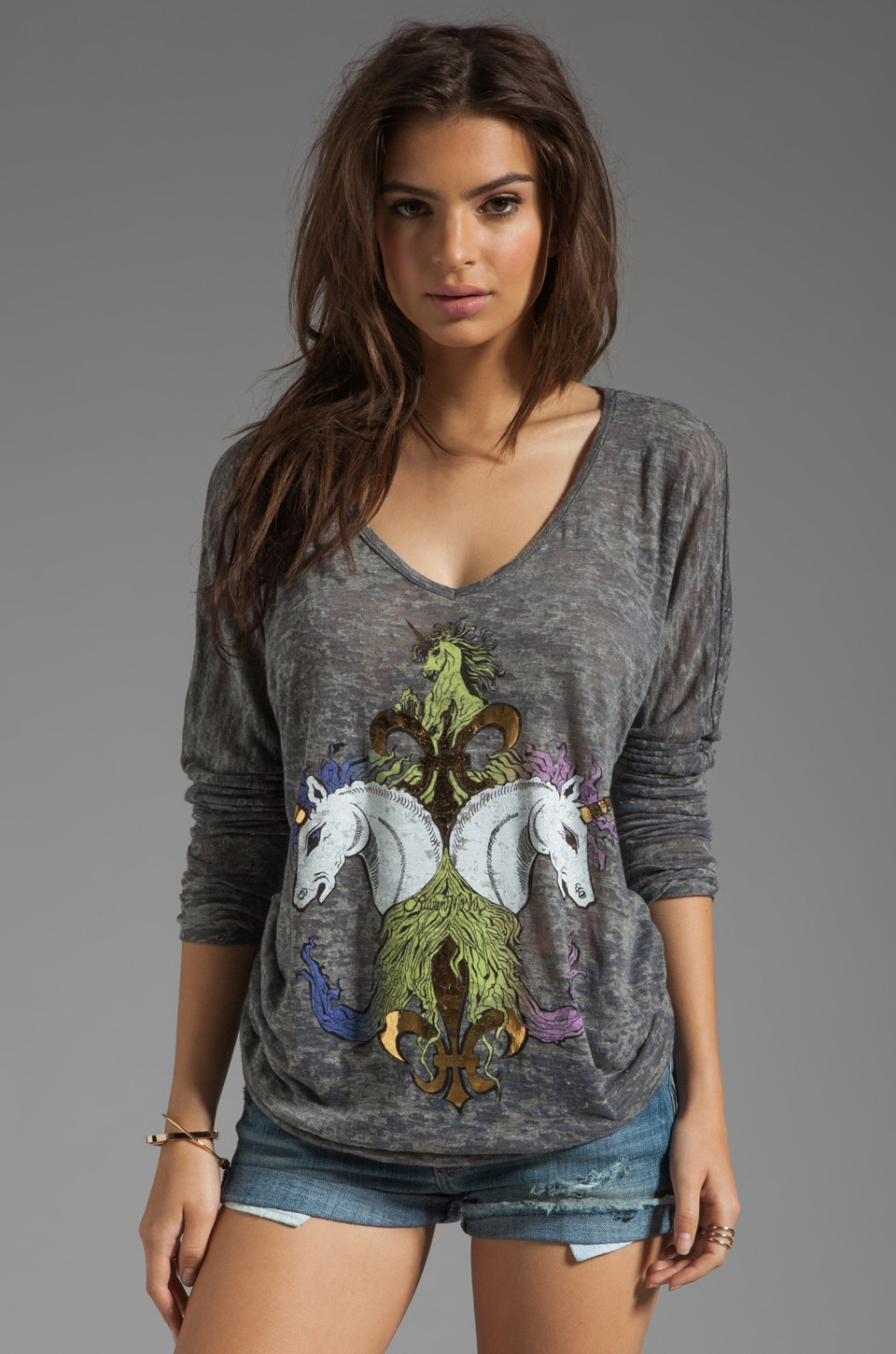 Lauren Moshi Mona Color Unicorn Cuff Tee in Heather Grey