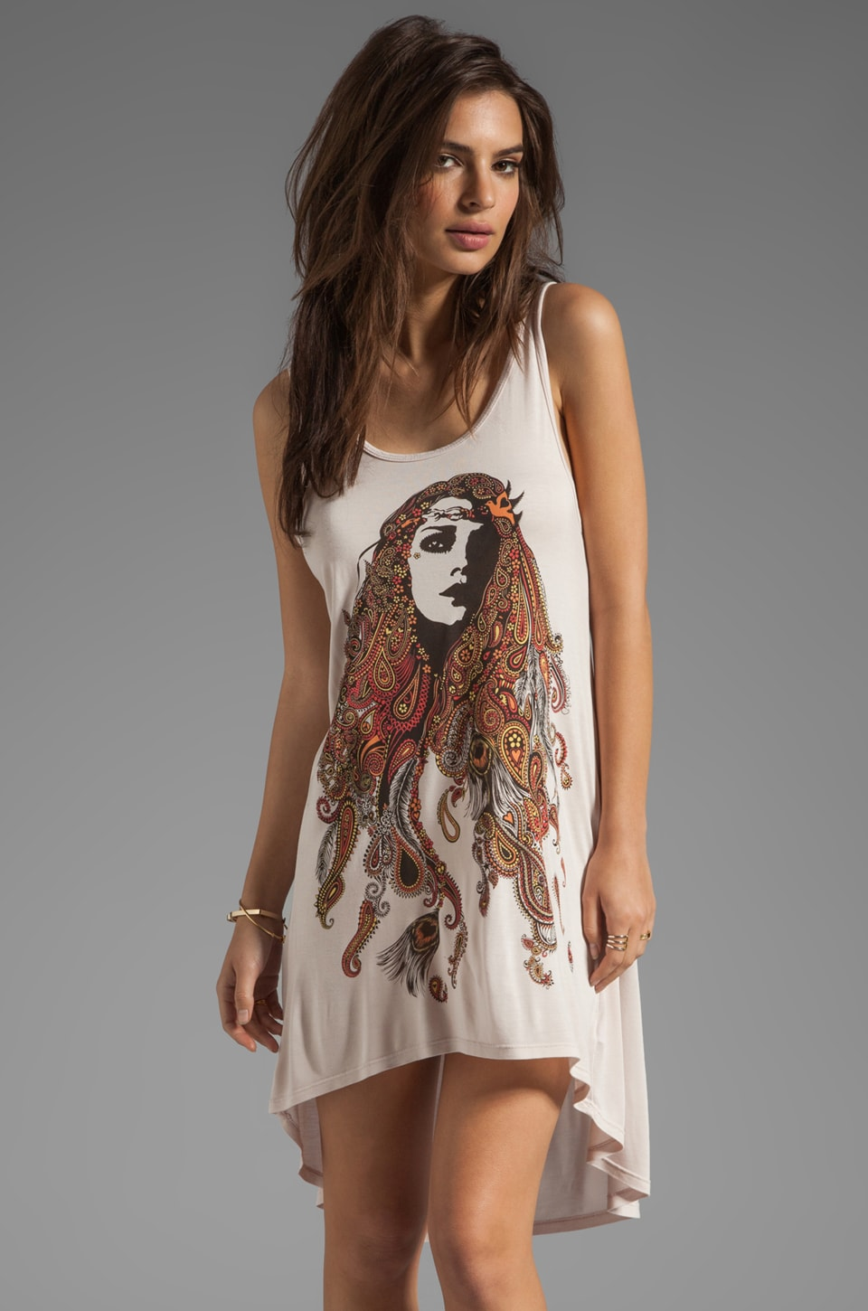 Lauren Moshi Claire Color Gypsy Girl Tank in Pink Ivory