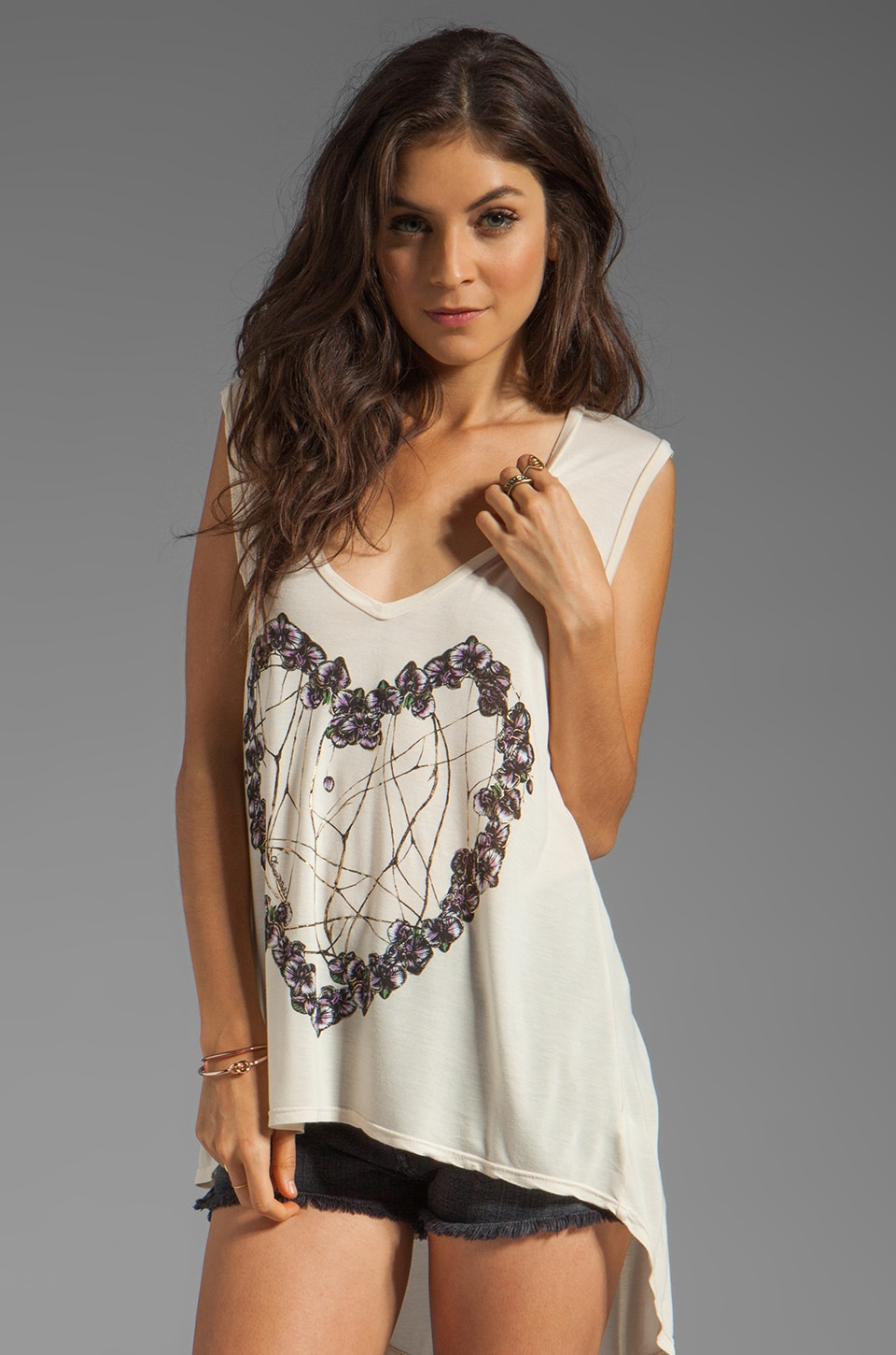 Lauren Moshi Dana Color Orchid Heart Asymmetrical Sleeveless Top in Silk