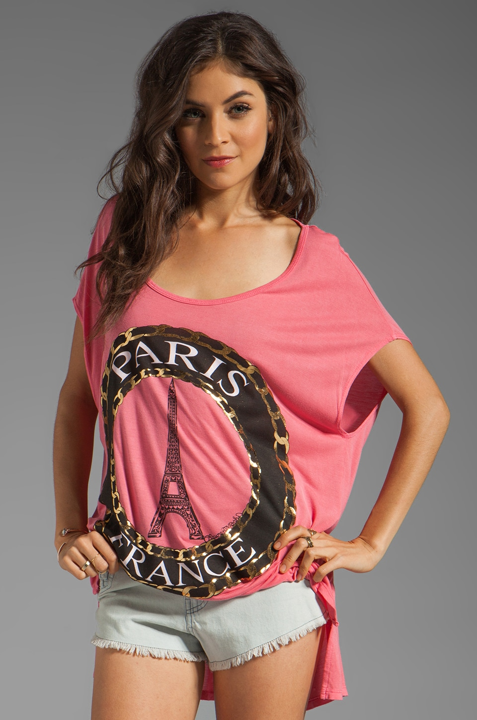 Lauren Moshi Brenda Foil Paris Oversized Tee in Fire Opal
