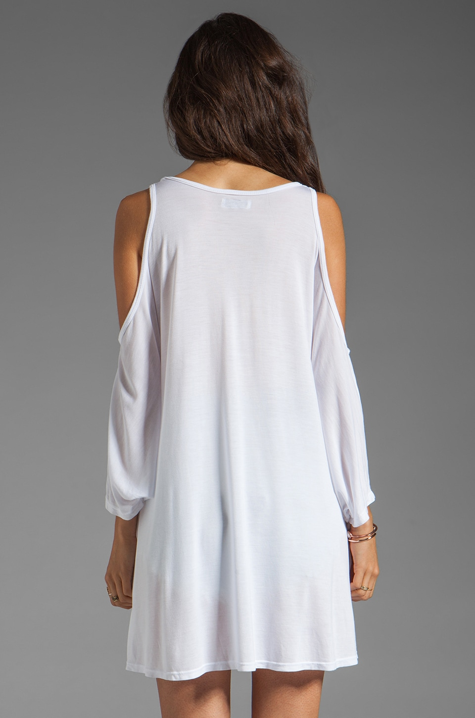 Lauren Moshi Macy Foil Royal Horse Open Shoulder Top in White