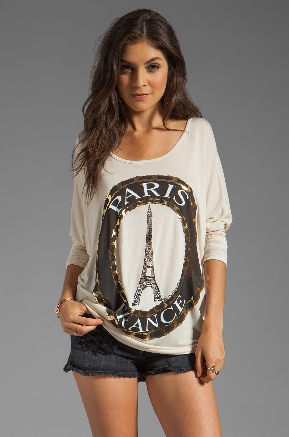 Lauren Moshi Ruby Foil Paris Cuffed Tee in Silk