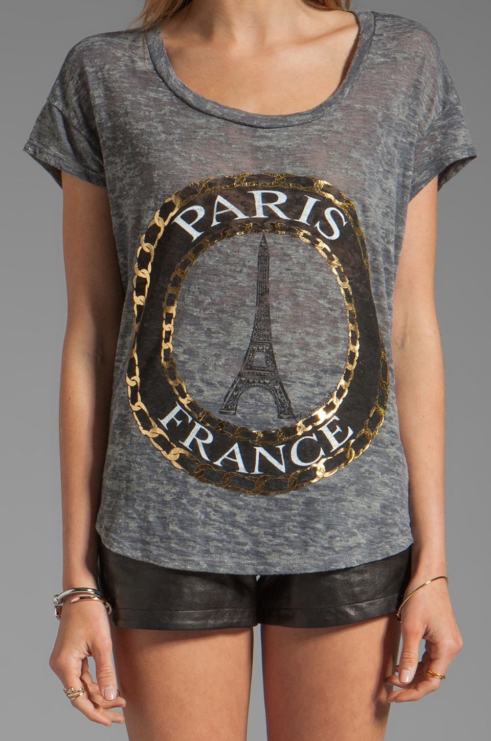 Lauren Moshi Audrey Foil Paris Scoop Tee in Heather Grey