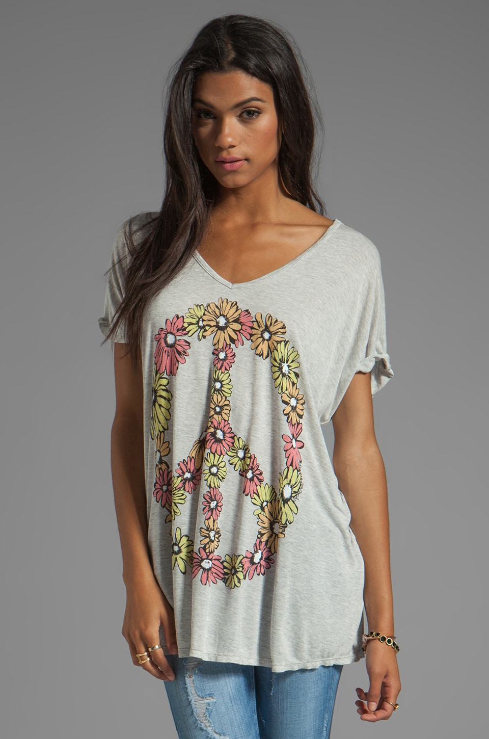 Lauren Moshi April Color Peace Daisy Oversized Tee in Pearl