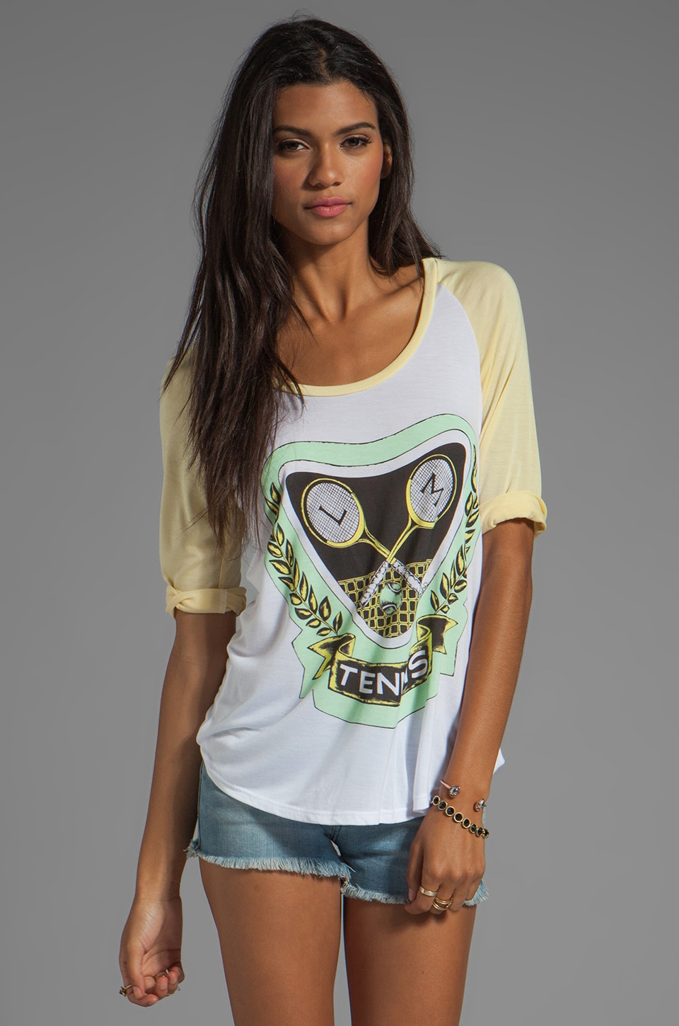 Lauren Moshi Frankie Green Color Tennis Baseball Tee in White/Stardust