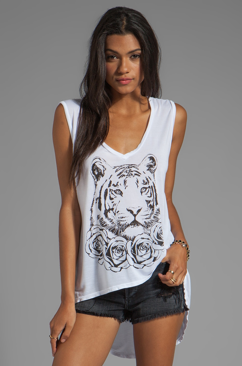 Lauren Moshi Dana Rose Tiger Asymmetrical V Neck in White