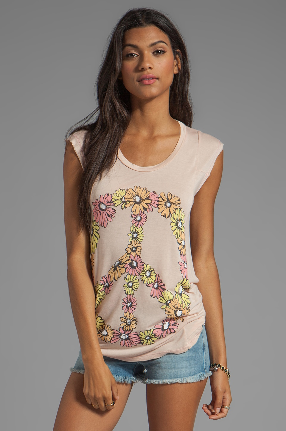 Lauren Moshi Tess Multi Color Peace Daisy Tee in Country Pink