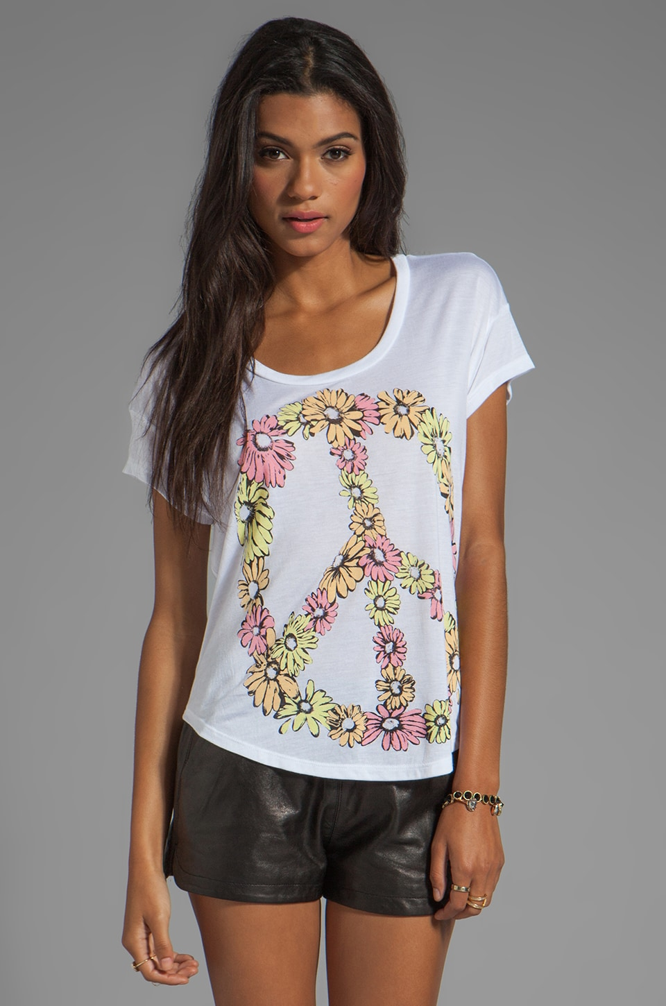 Lauren Moshi Audrey Multi Color Peace Daisy Tee in White