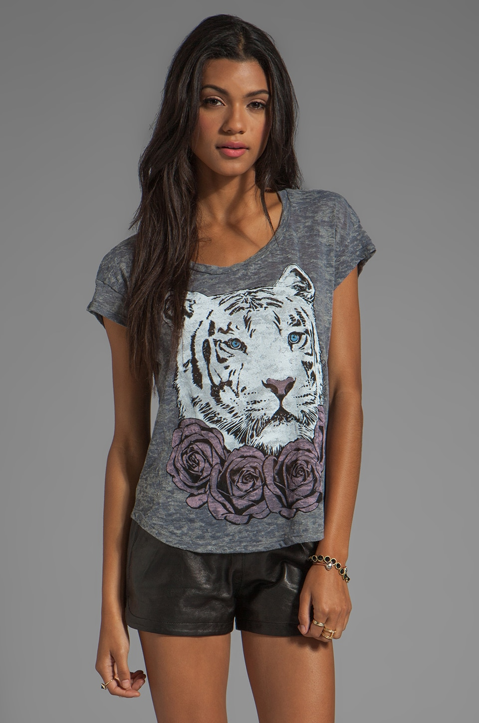 Lauren Moshi Audrey Color Rose Tiger Tee in Heather Grey