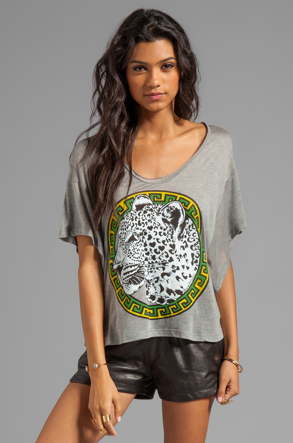 Lauren Moshi Calypso Color Leopard Medallion Tee in Heather Grey