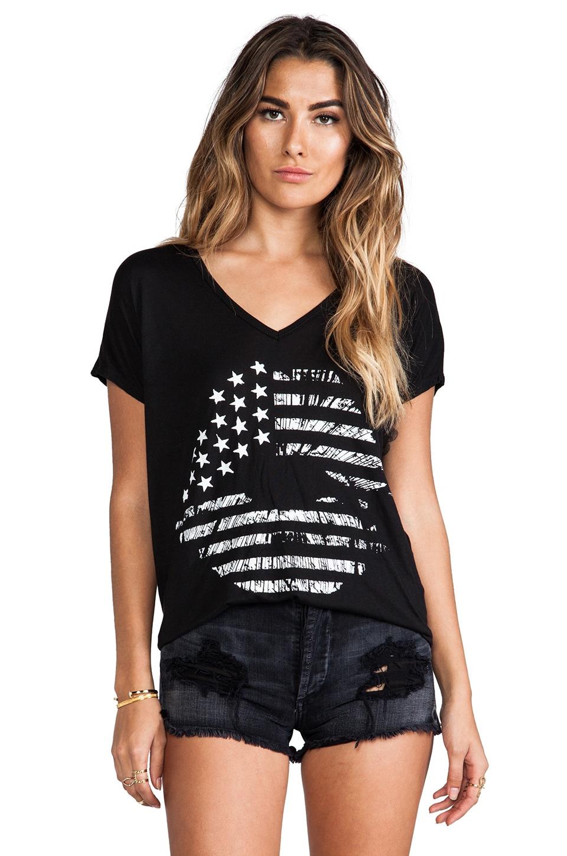 Lauren Moshi April Flag Lip Oversized V-Neck Tee in Black